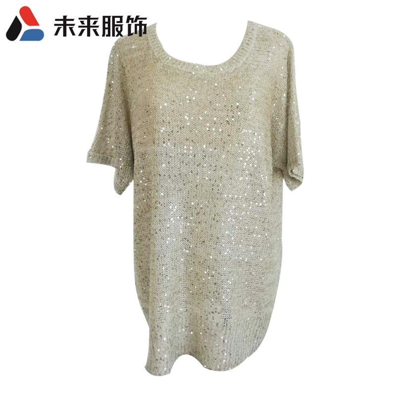 Sequin short sleeve Pullover womens sweater foreign trade tail list