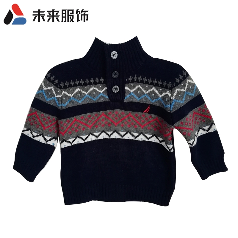 Childrens high collar brand clothing buckle sweater